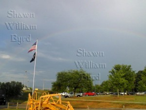 This rainbow was seen and photographed by Shawn William Byrd. He is a researcher and has written numerous articles and performed experiments with electronics. This is one of his blogs that carries his articles.
